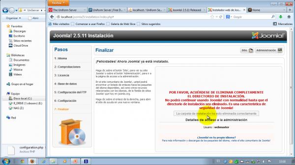 Terminamos de instalar Joomla 2.5