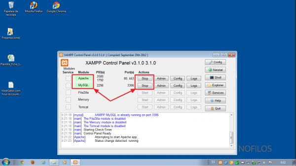 xampp-control.exe. Como instalar Joomla 2.5 en xampp