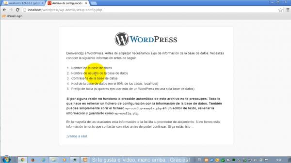 Como instalar wordpress en xampp. Paso 2