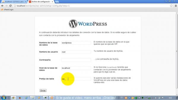 Como instalar wordpress en xampp. Paso 3