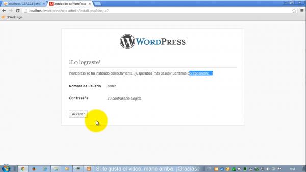 Como instalar wordpress en xampp. Paso 6