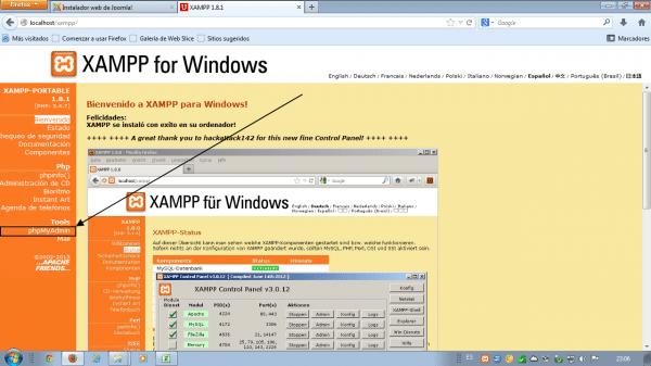 Como instalar wordpress en xampp. Acceder a phpmyadmin