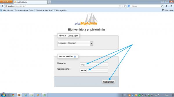 Como instalar wordpress en xampp. Usuario root y contraseñá root