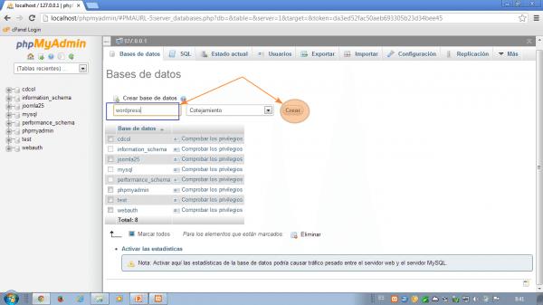 Como instalar wordpress en xampp. Crear base de datos wordpress