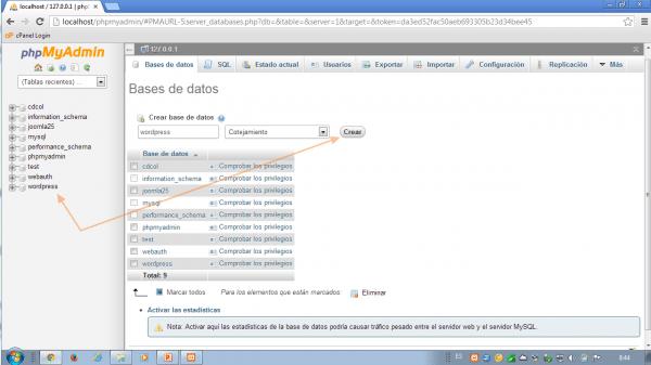 Como instalar wordpress en xampp. Verifica tu base de datos creada