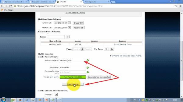 Crear usuario. Como migrar wordpress de alojamiento web