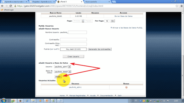 Relacionamos usuario y base de datos. Como migrar wordpress de alojamiento web