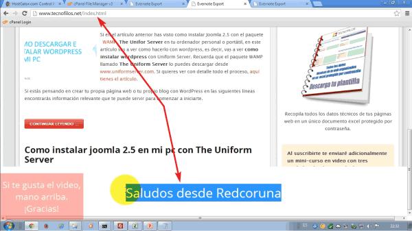 """Pagina web """"Saludos desde Redcoruna"""". Realizada con Evernote"""