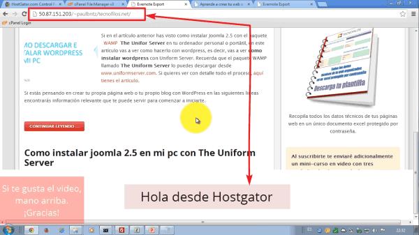 URL facilitada por el proveedor de alojamiento web