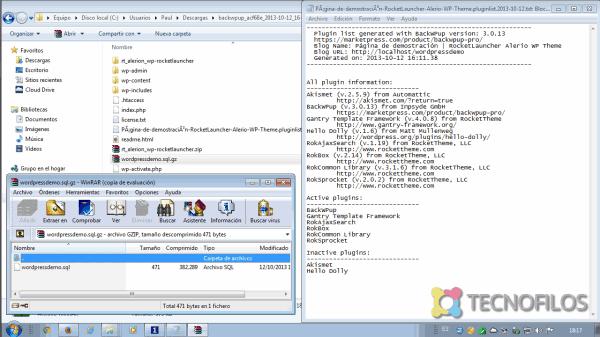 copia de seguridad con wordpress