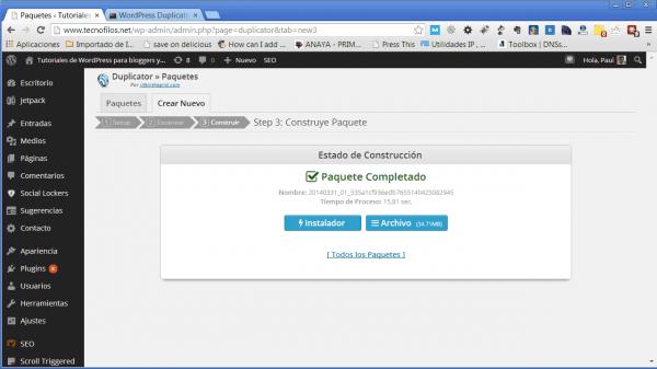 Copia de seguridad de wordpress con el plugin duplicator