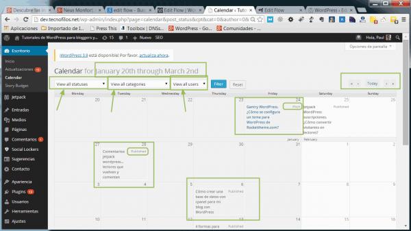 Detalles de la vista del calendario en Edit flow
