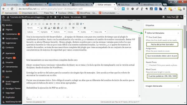 El widget editorial con los metadatos de Edit flow