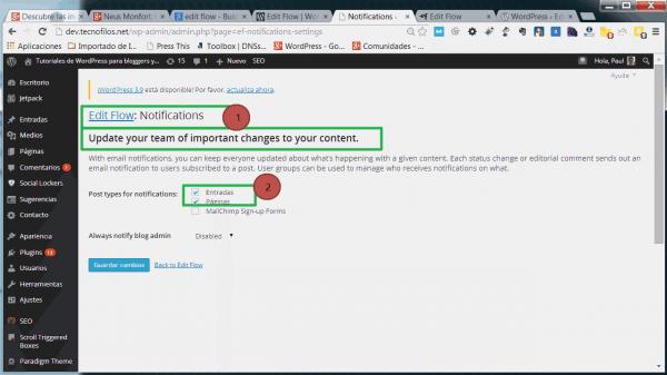Las notificaciones en el plugin Edit flow