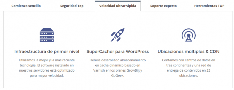 Detalles que te proporcionan una web ultrarápida