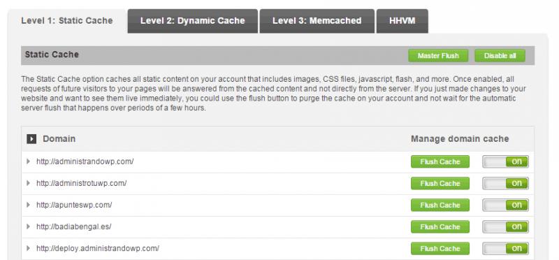 Los tipos de cache disponibles con SiteGround