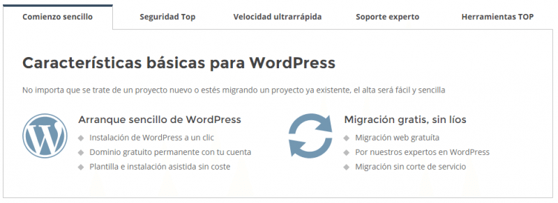 Características básicas para WordPress