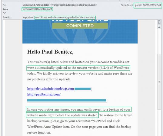 Correo de SiteGround informándote de que tus sitios web creados con WordPress han sido actualizados.