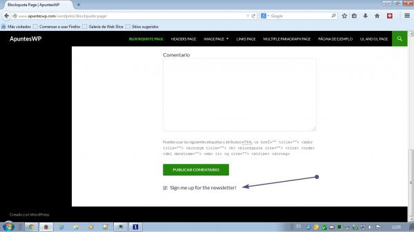MailChimp for WordPress. Resultado de la casilla de verificación