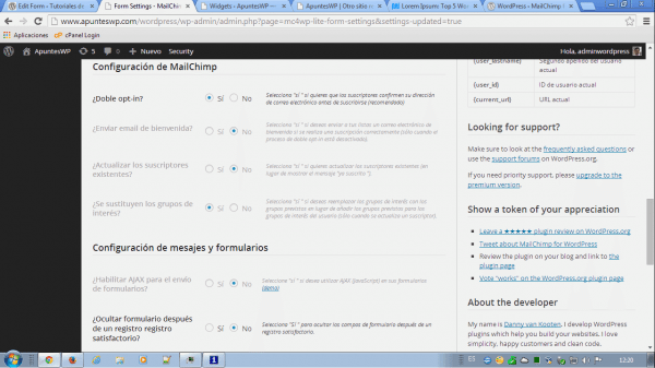 MailChimp for WordPress. Configuración de MailChimp