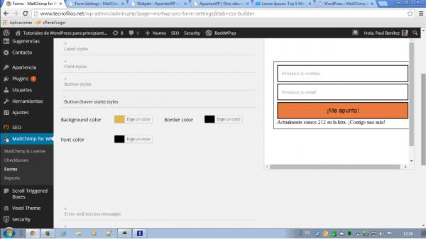 MailChimp for WordPress. Estilos para los botones (hover)