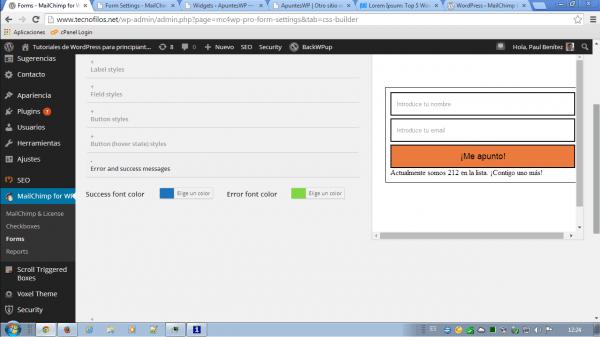 MailChimp for WordPress. Estilos para mensajes de error y los satisfactorios