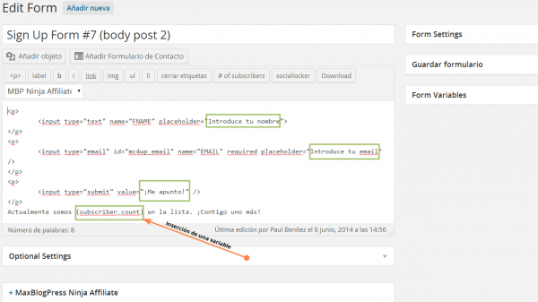 MailChimp for WordPress. Insertando una variable para mostrar el total de suscriptores