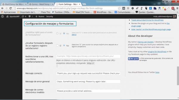 MailChimp for WordPress. Configuración de mensajes y formularios