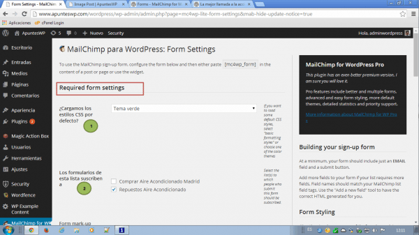 MailChimp for WordPress. Configuración de formularios