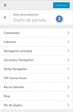 """Generatepress Premium - Opciones de personalización """"Diseño en pantalla"""""""