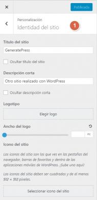 """Generatepress Premium - Opciones de personalización """"Identidad del sitio"""""""