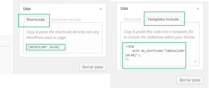 Meta Slider Pro. Copia y pega el codigo corto de tu pase