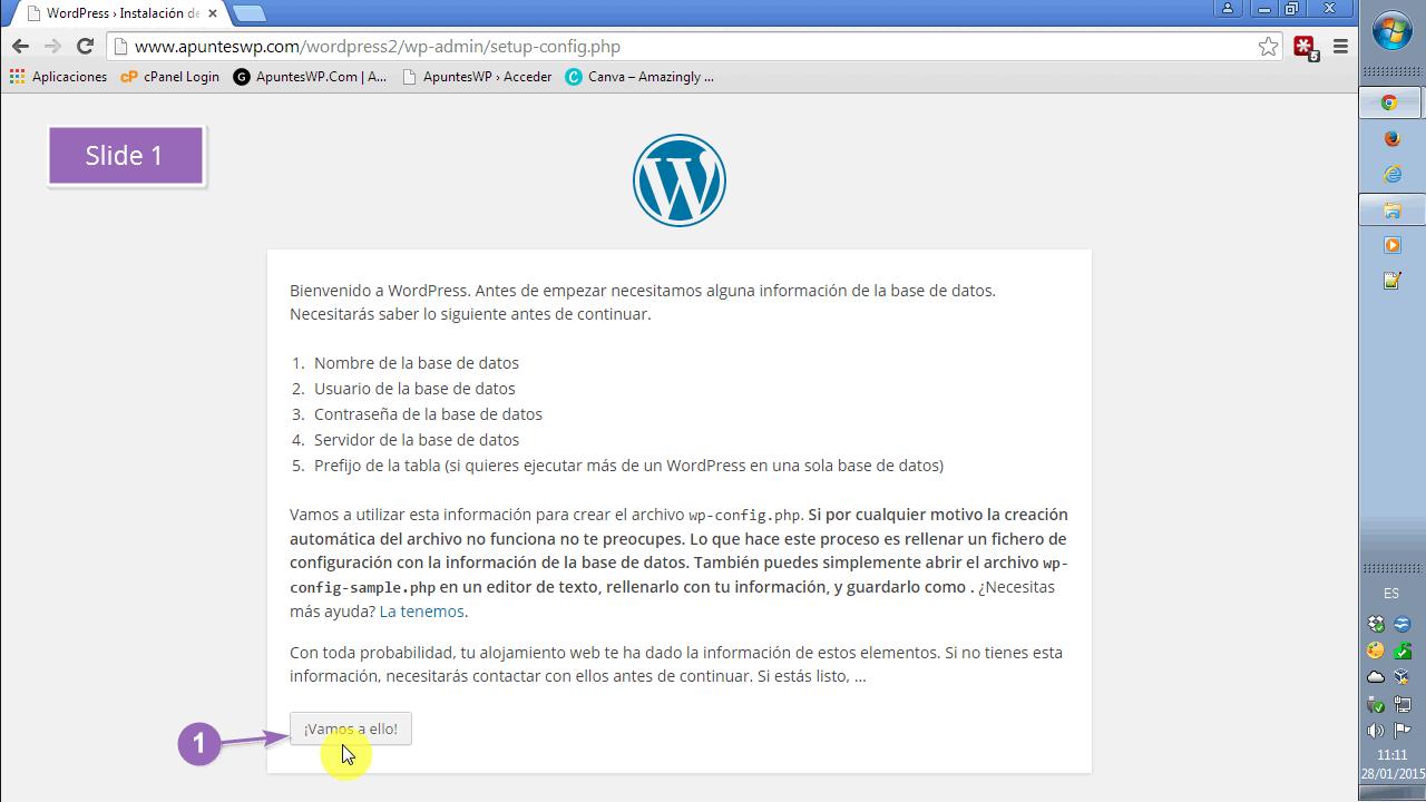 Instalar WordPress paso a paso. Comenzamos la instalación. SLIDE1