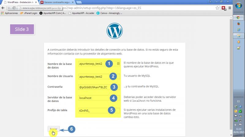 Instalar WordPress paso a paso. Nombre de usuario, base de datos, servidor local y prefijo de las tablas