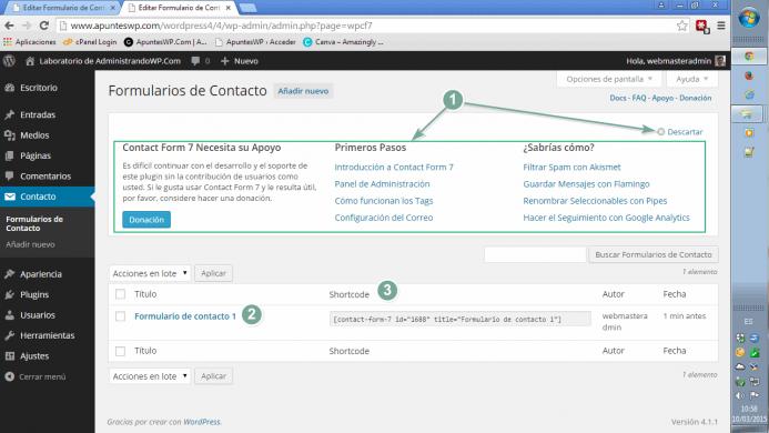 Lista de formularios de contacto creados con contact form 7