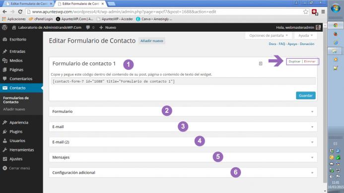Edición de un formulario de contacto