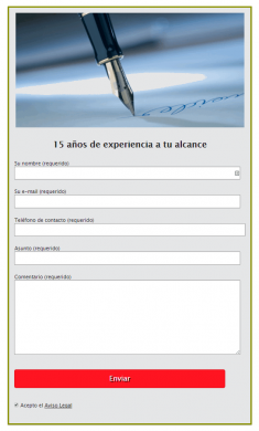 Ejemplo de formulario de contacto creado con contact form 7 y Magic Action Box