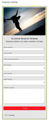 Ejemplo dos de formulario de contacto creado con contact form 7 y Magic Action Box