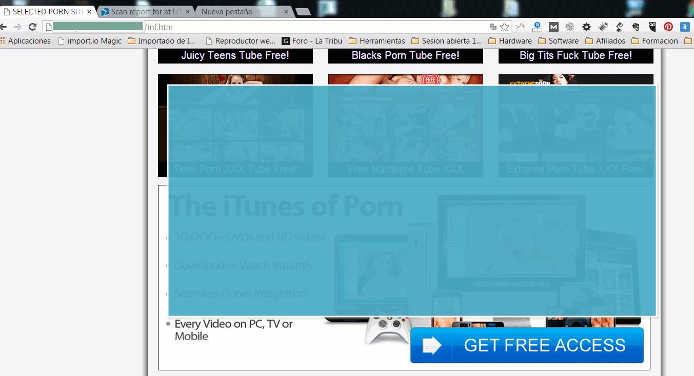 WordPress infectado con fotos porno