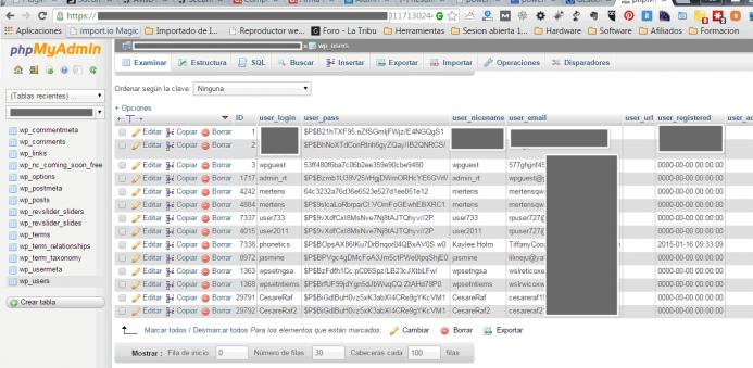 Base de datos WordPress infectada con usuarios malintencionados. Síntoma de que tienes un problema de malware.