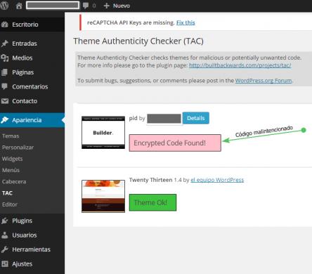 El plugin Theme Authenticity Checker detecte archivos infectados en el tema de WordPress