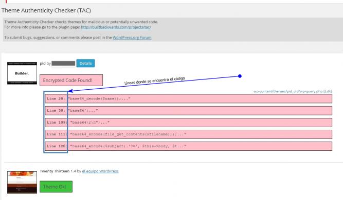 Lineas de código infectadas por Theme Authenticity checker