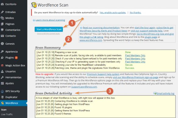 Escaneo con Wordfence para analizar los archivos de tu instalación de WordPress