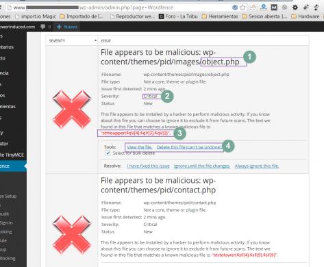 Archivos detectados por Wordfence como archivos maliciosos