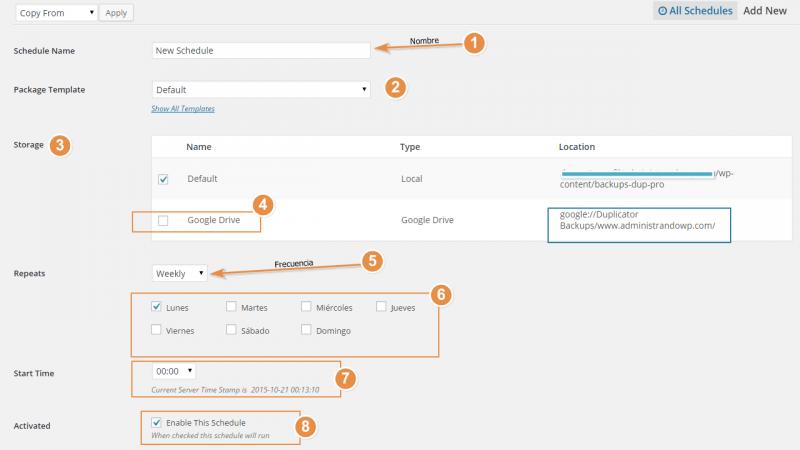 Duplicator Pro - Schedules