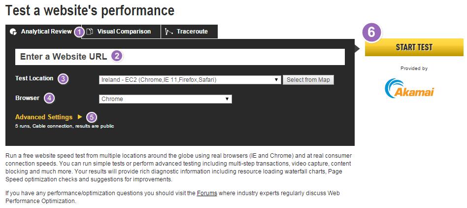Formulario de configuración para hacer un test de velocidad de carga de una web con webpagetest.org