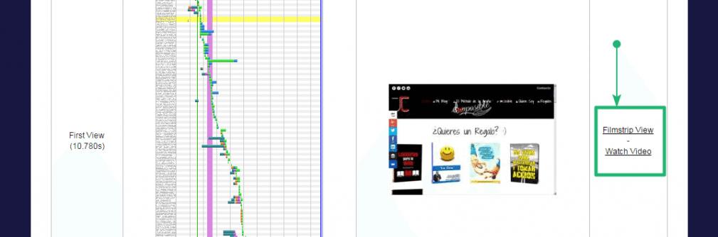 Detalle de la cascada de webpagetest junto con los accesos directos a la vista de vídeo