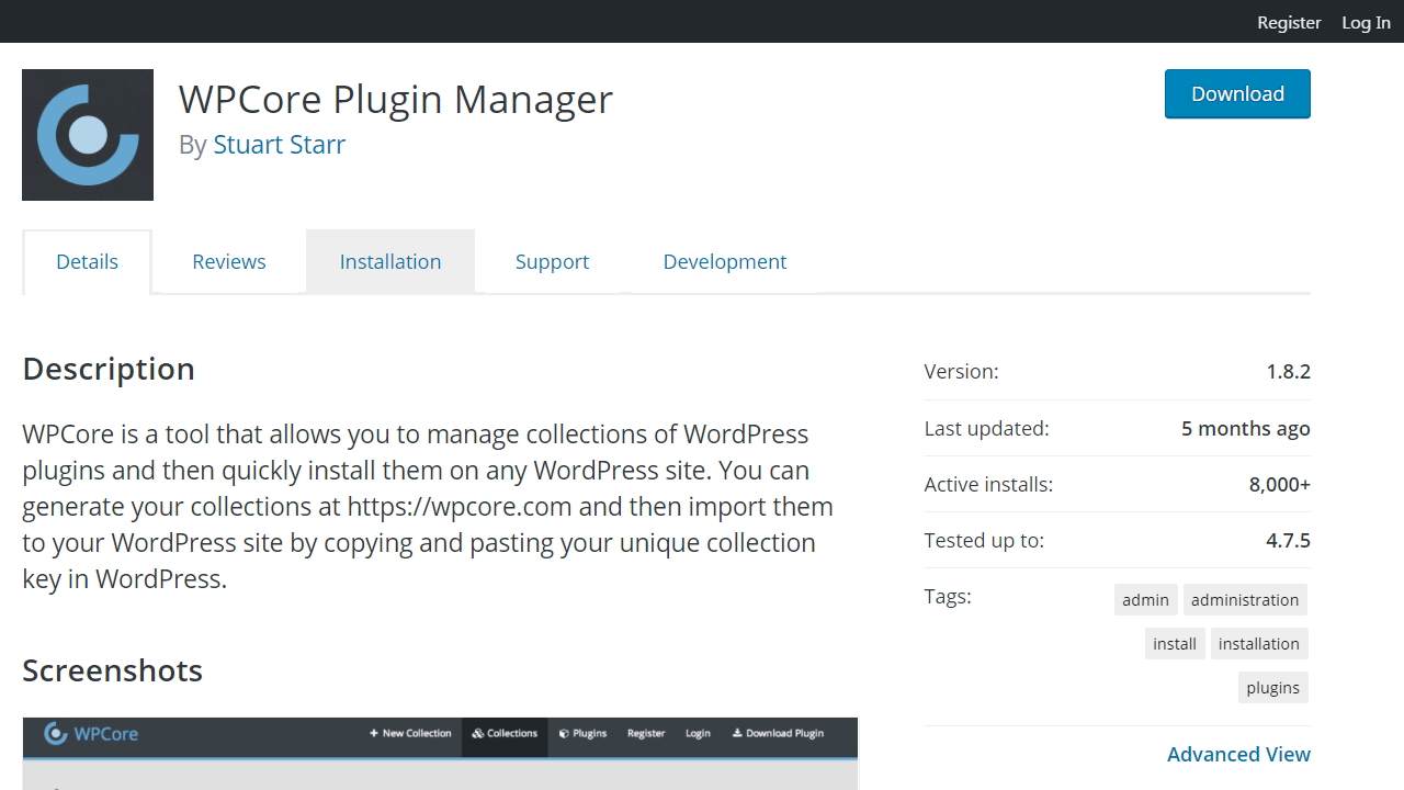 Portada del repositorio de wordpress.org del plugin WPCore Plugin Manager
