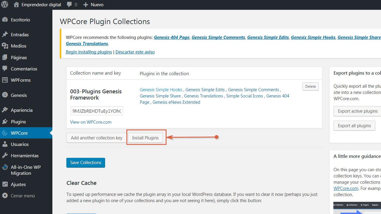 Haz clic en el botón Install Plugins