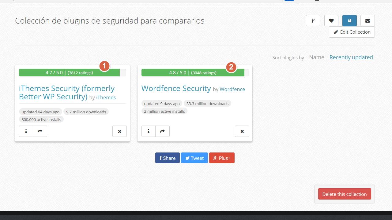 Coleccion de wpcore.com con dos plugins de seguridad